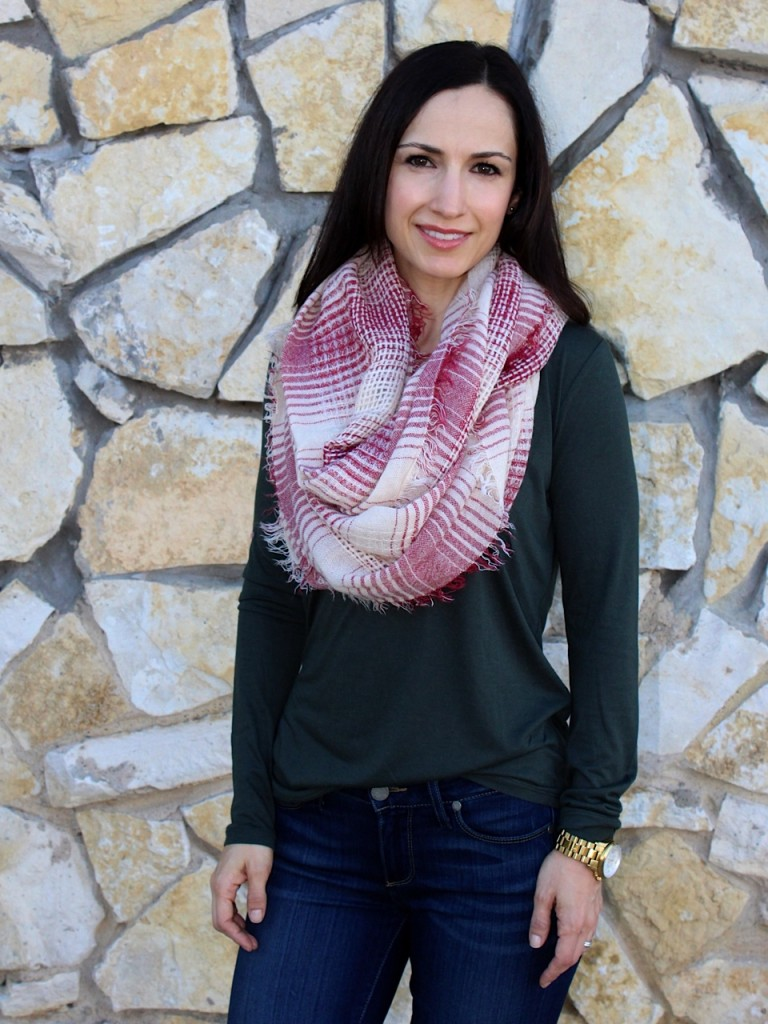 Trask Layla Boots / Paige Denim/ J.Crew Tee/ Nordstrom Scarf