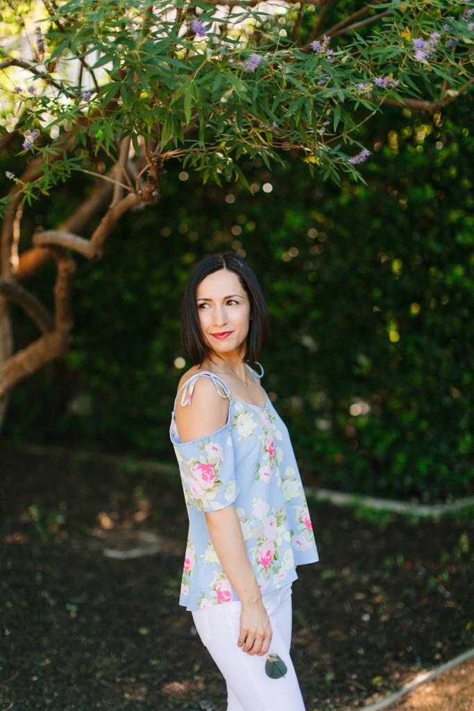 floral-off shoulder-white jeans-summer
