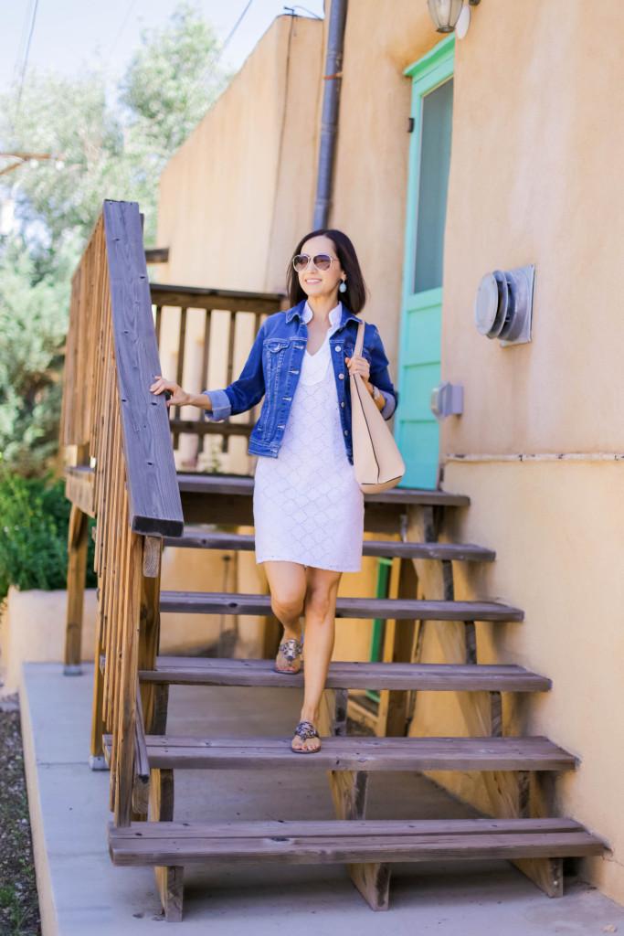 White Dress| Denim Jacket | Taos