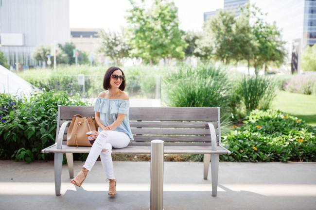 Chambray Off Shoulder Top and Distressed White Denim