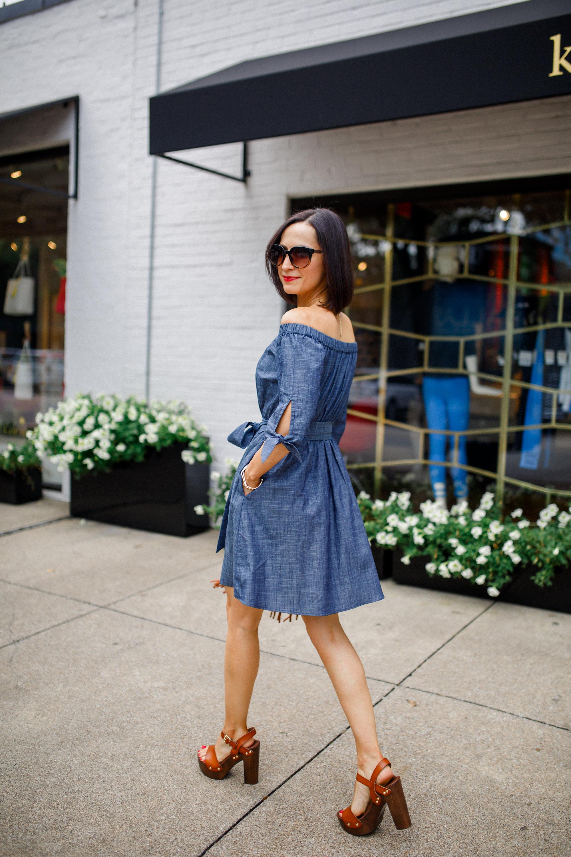 Off Shoulder Denim Dress: A Perfect Fit