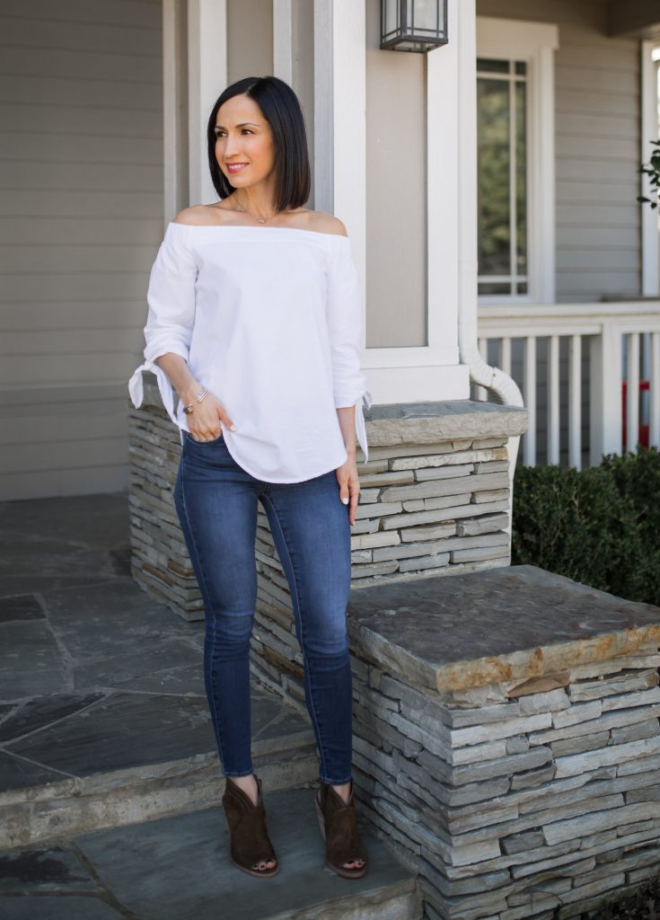 off shoulder top outfit with jeans