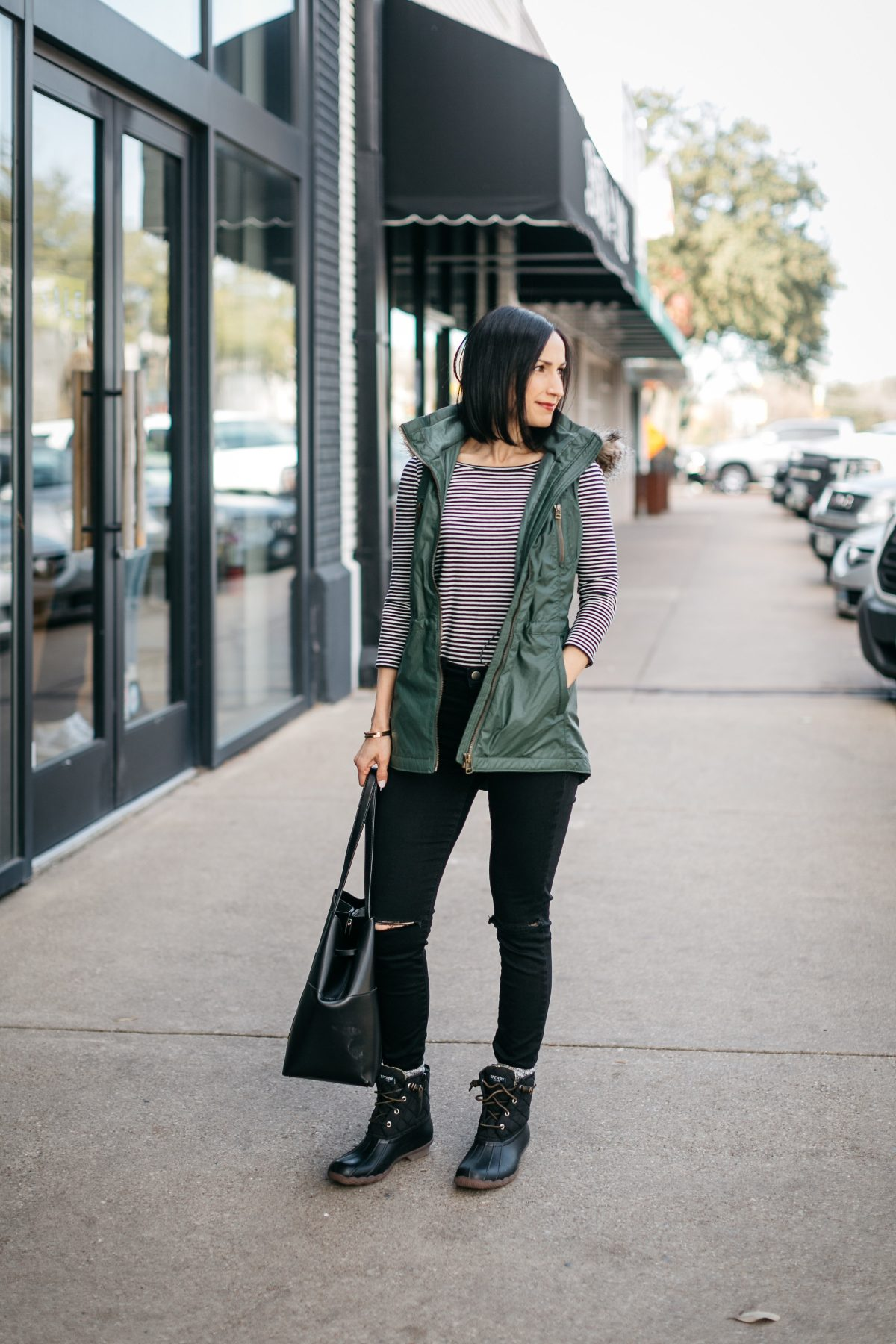 How to style a long vest and sperry duck boots to create a casual chic look...
