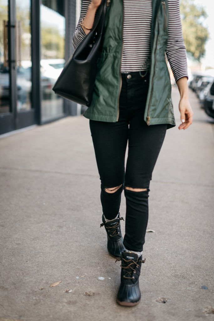 How to style Sperry Duck boots.