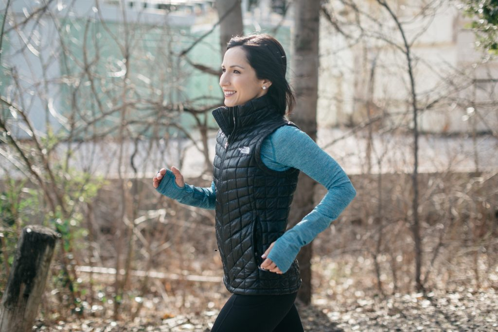 How to style a down vest, spring active layers, athleisure