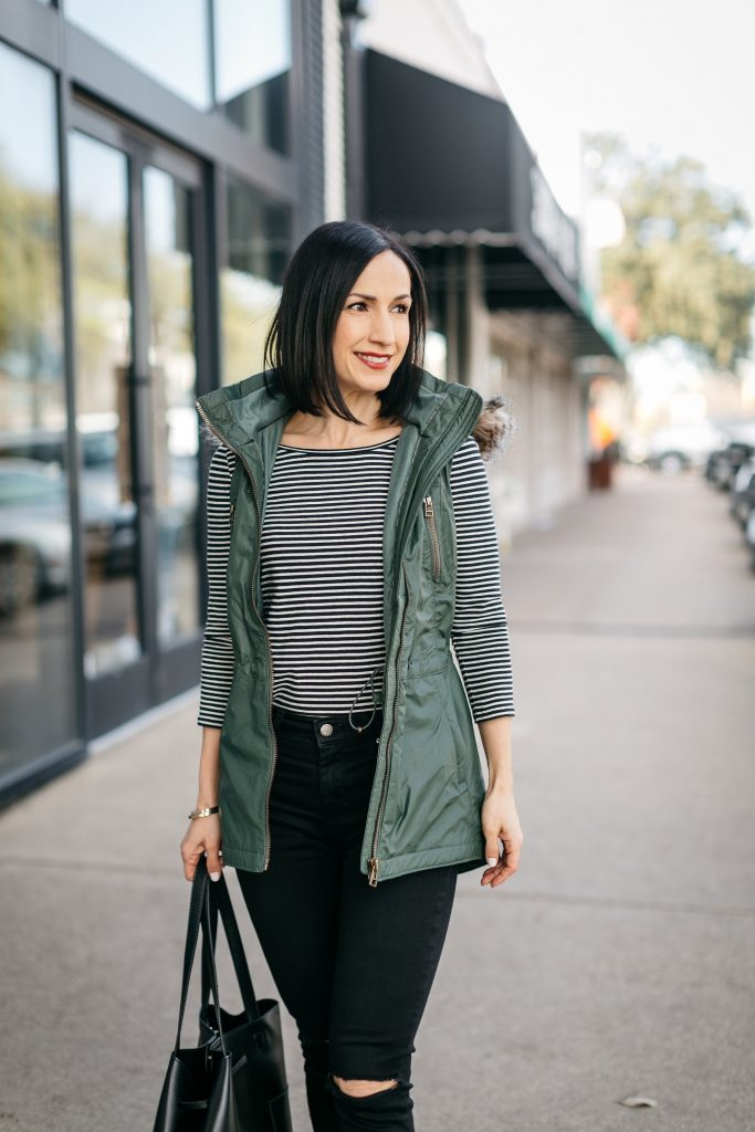 cc7c01816a444 How to style a long vest to create an outdoor chic look! Athleta makes great