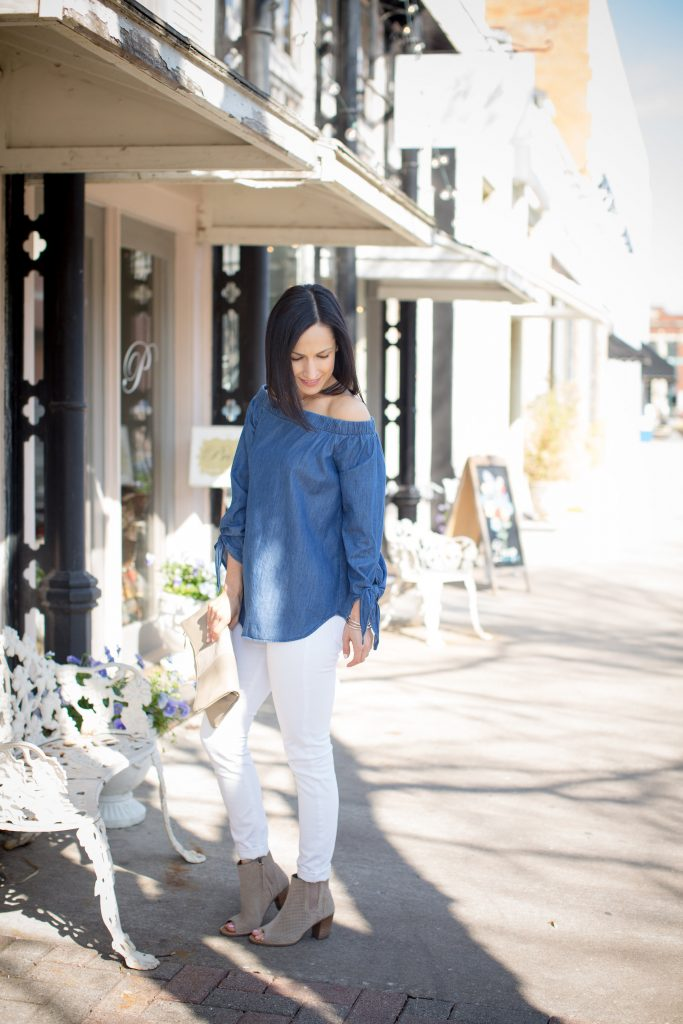 An Off Shoulder Chambray Top is an essential for spring. Pair it with your favorite White Jeans and open toe booties and you're ready to go!