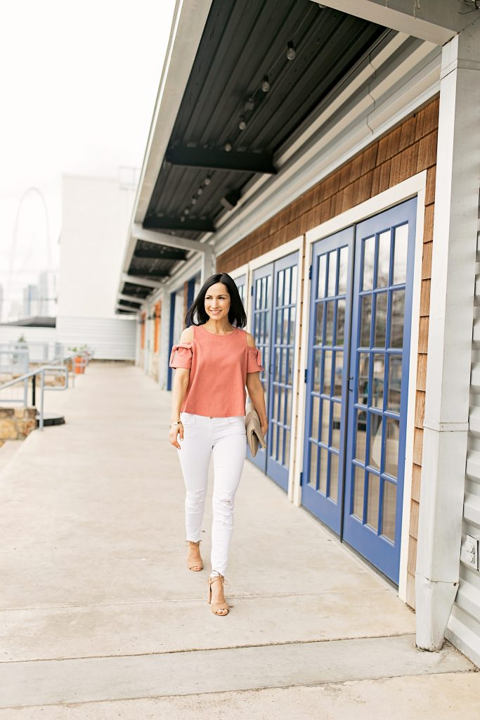 Madewell Cold shoulder Top and White Jeans