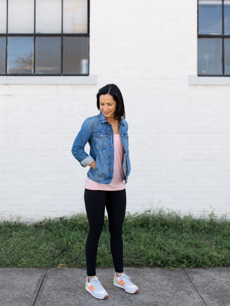 How to style a denim jacket with an athleisure outfit.