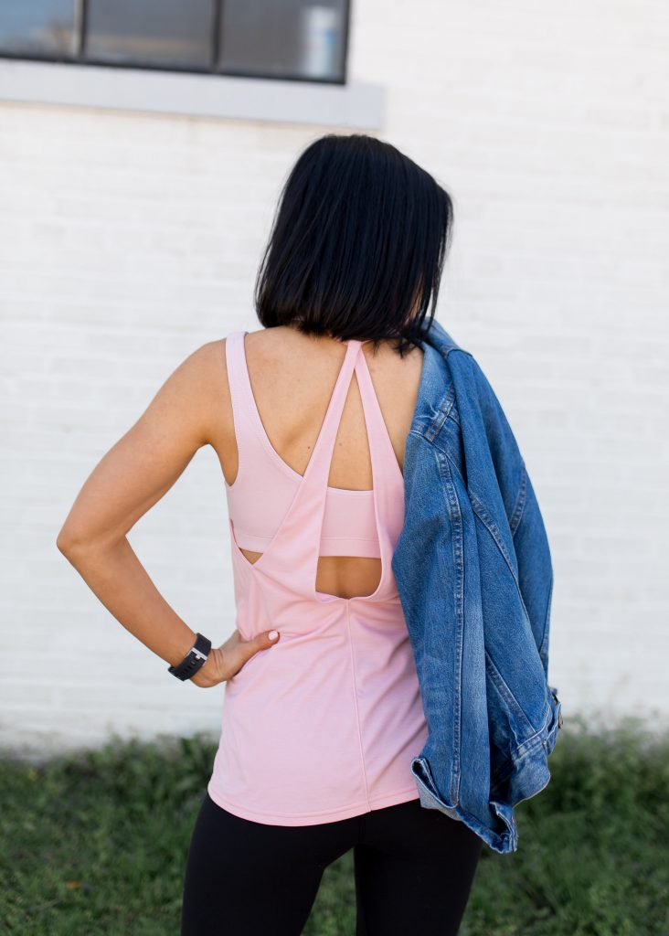how to style a denim jacket with athleisure