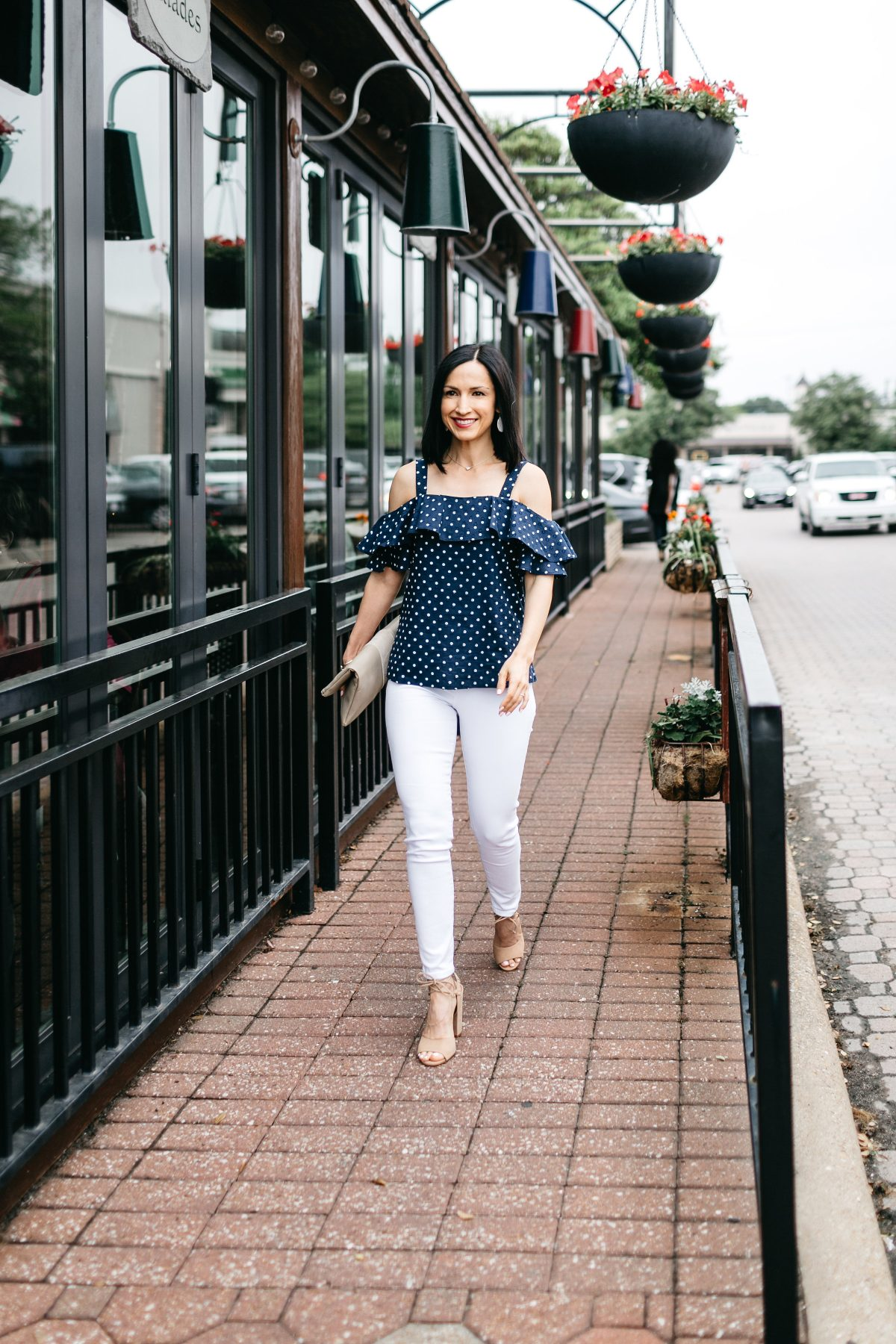 How to style white jeans with a polka dot cold shoulder top