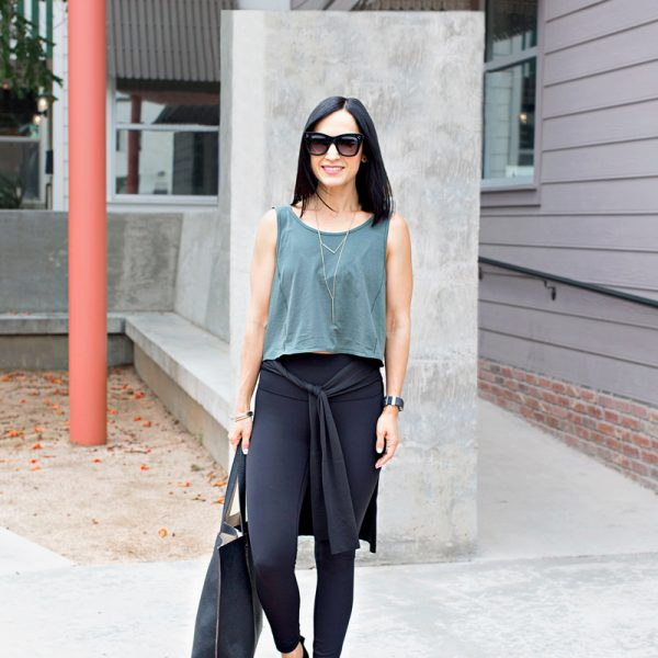 Pair your cropped tank or tee with high rise leggings for a fresh spin on athleisure! Add espadrille flats, a shirt tied around the waist, and a tote, and you're set!