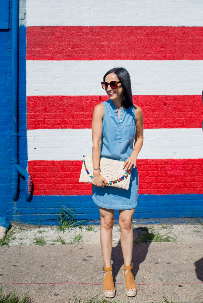Chambray Dress, Pom Pom Clutch, and 4th of July Sales