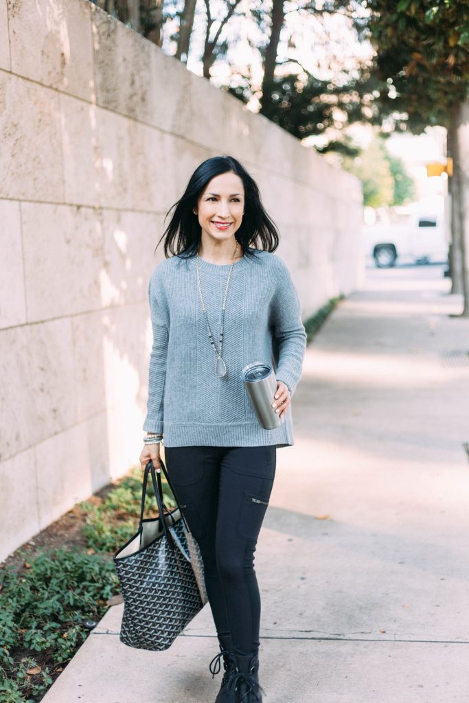 Athleta Habitat sweater and Highline Hybrid Leggings worn together are a cozy chic outfit for a Thanksgiving gathering!