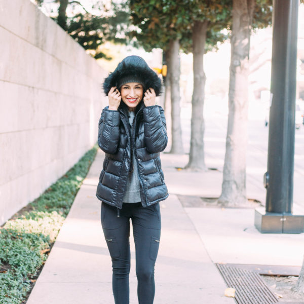 Chic winter look featuring black puffer jacket, Athleta and GAP with Sorel Boots
