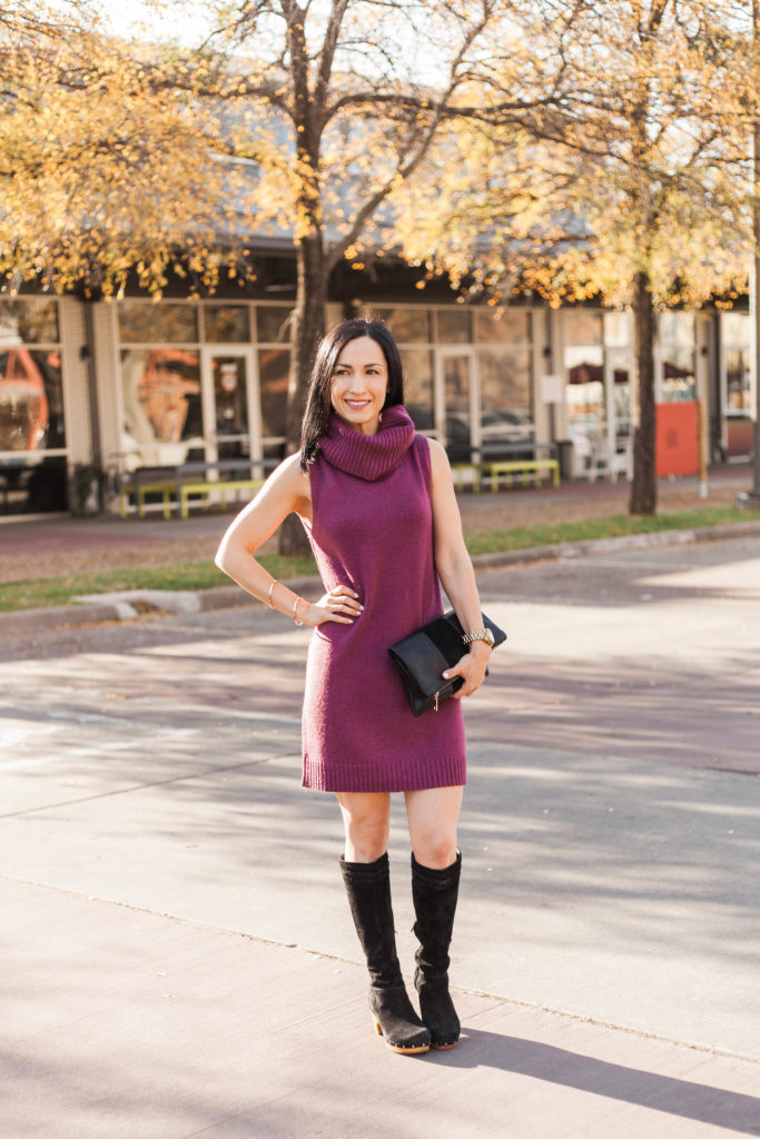 Lolë Sweater Dress and Suede Knee High Boots Winter Gift Ideas for Women