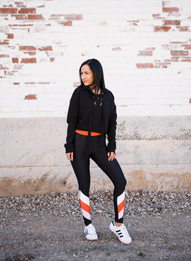 P.E. Nation Leggings and Wesley Cropped Hoodie Sweatshirt Whole30 Dallas Duo Bandier