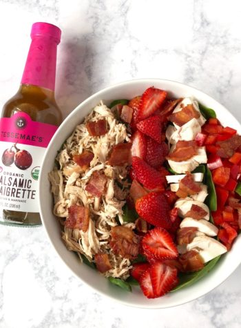 Whole30 Protein Salad with Spinach, Rotisserie Chicken, and Strawberries