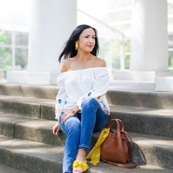 Madewell Jeans and Off Shoulder Top, Spring Summer Outfit