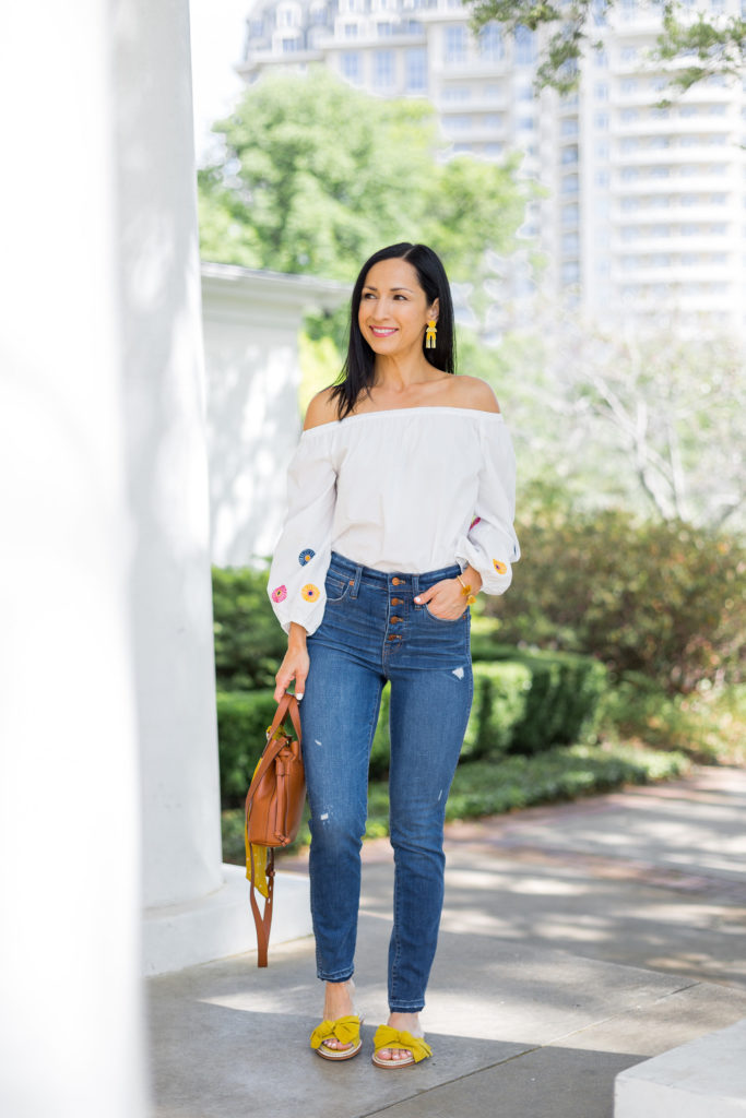 Madewell Jeans and Off Shoulder Top, Spring Summer Outfi