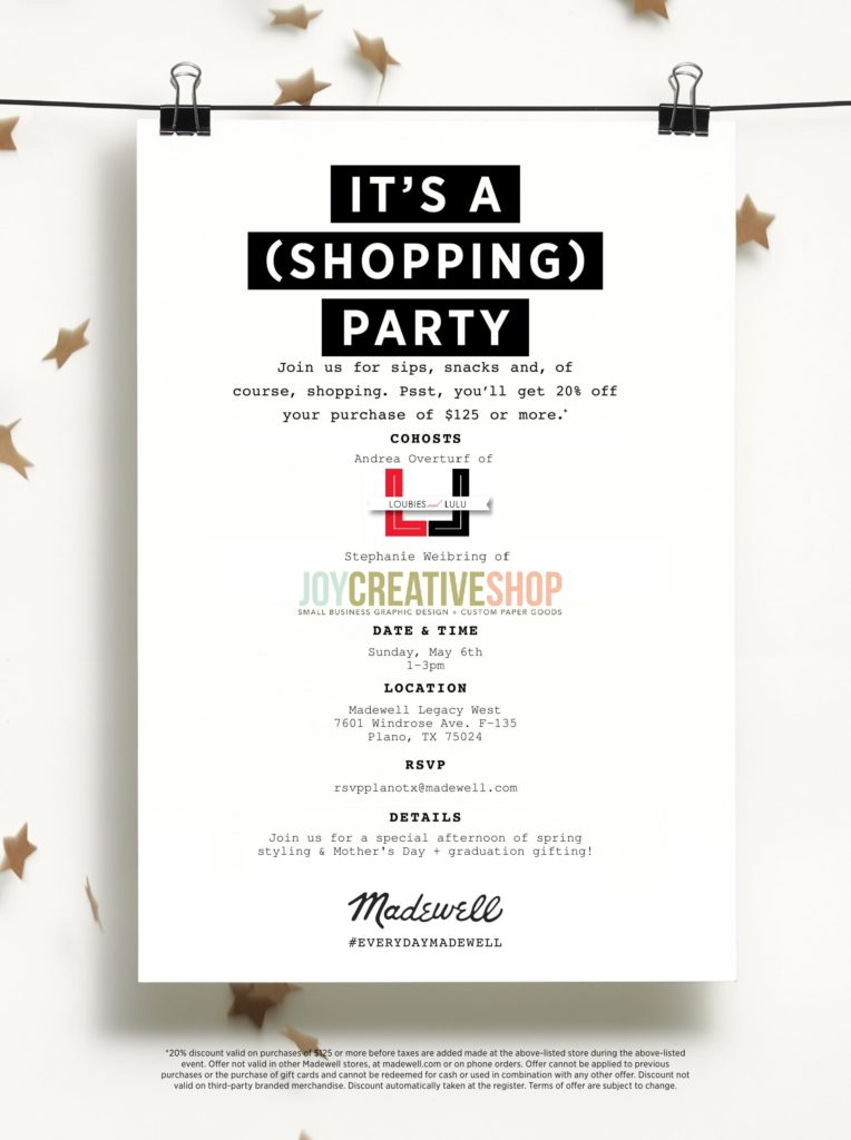 Shopping Party Invite Loubies and Lulu and Joy Creative Shop for Madewell Legacy West Plano