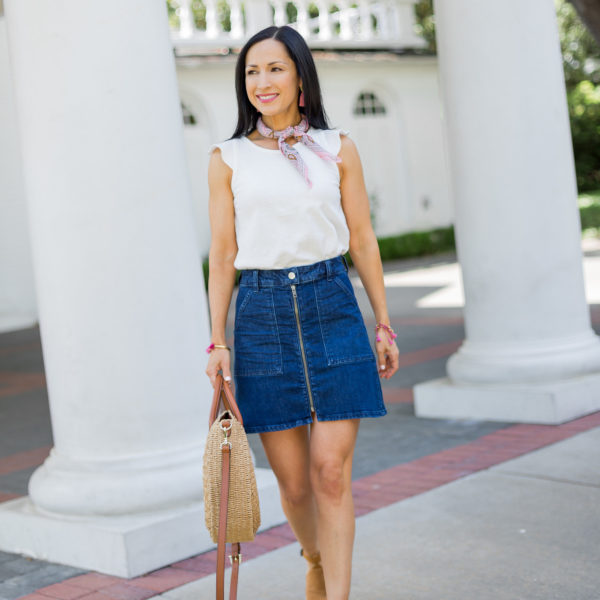 Madewell Zip Up Denim Skirt, Mother's Day Spring Outfit with Neck Scarf and straw handbag