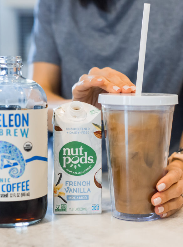 Chameleon Cold Brew and nutpods dairy free creamer, Whole30 approved coffee drink