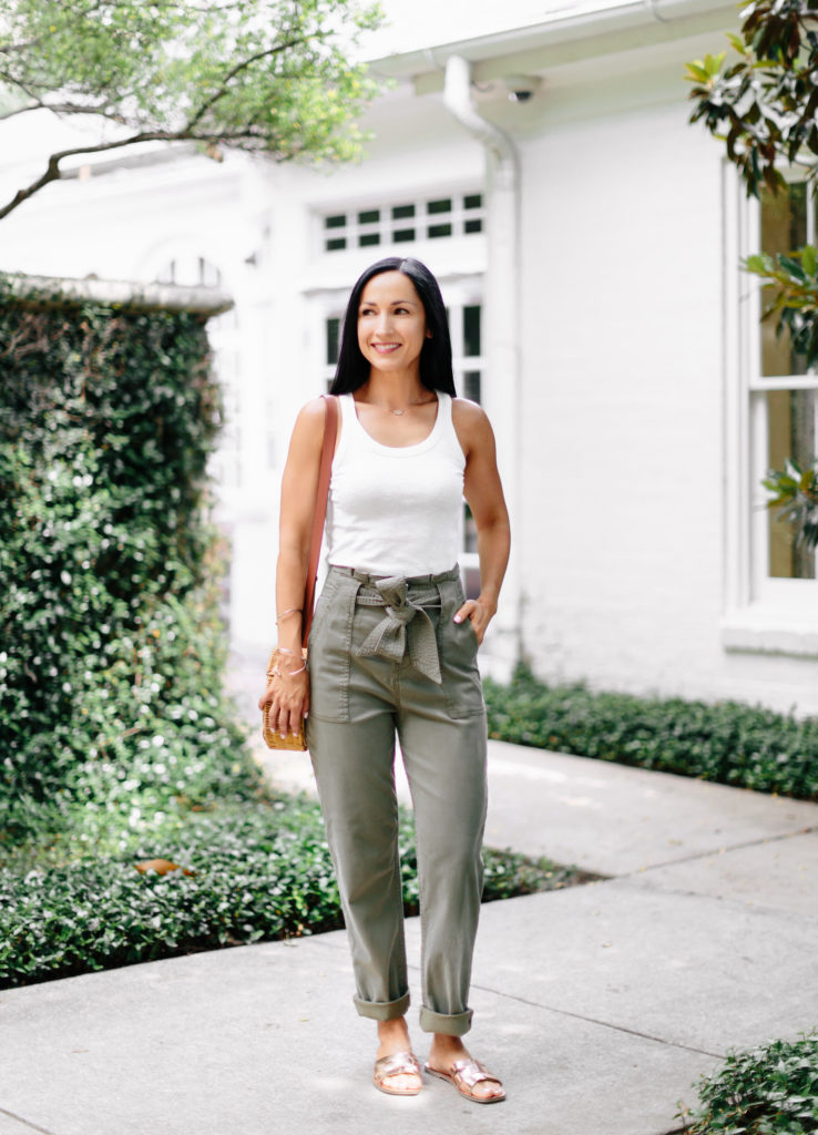 Topshop Belted Paper Bag High waist Pants paired with a simple white tank for a simple summer outfit!