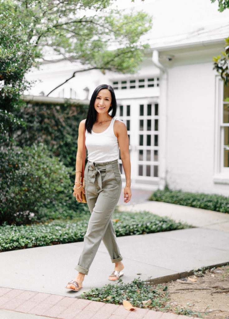 a6a9b729 Topshop Belted Paper Bag High waist Pants paired with a simple white tank  for a simple