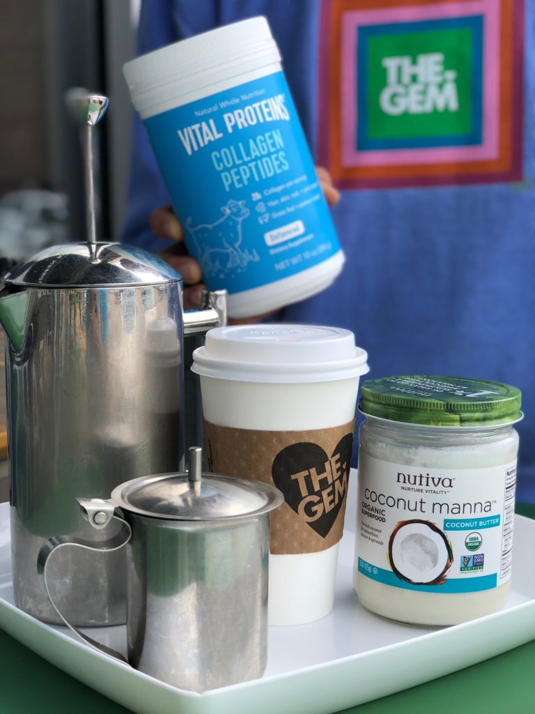 Elevated Coffee, our version of bulletproof featuring Vital Proteins Collagen Peptides, Nutiva Coconut Manna, French Press Coffee, and homemade Cashew milk (Whole30 Compliant) from The Gem!