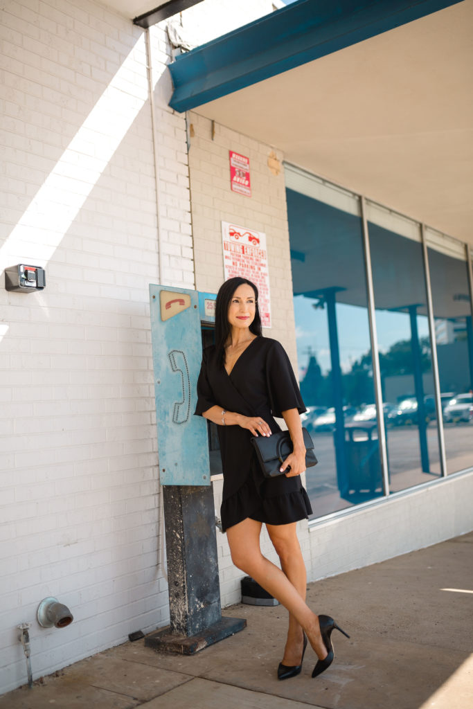 Topshop Little Black Wrap Dress, Black pumps, clutch and red lips, How to style a LBD