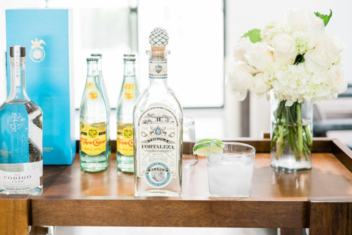 Ranch water for national margarita day with fortaleza tequila and topo chico, Holly and Martin Bar Cart