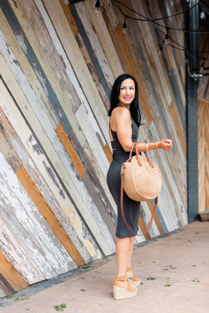 Athleta Midi dress with wedges and straw handbag, easy and comfortable summer dresses