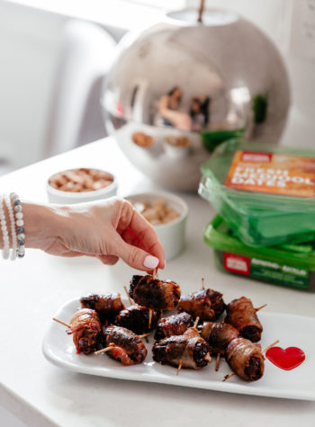 Bacon Wrapped Dates with Natural Delights Medjooll dates and Whole30 compliant bacon appetizer