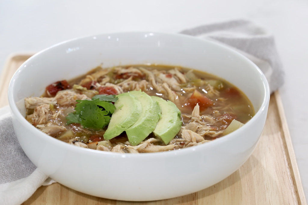 Whole30 Green Chile chicken soup with Bare Bones Broth