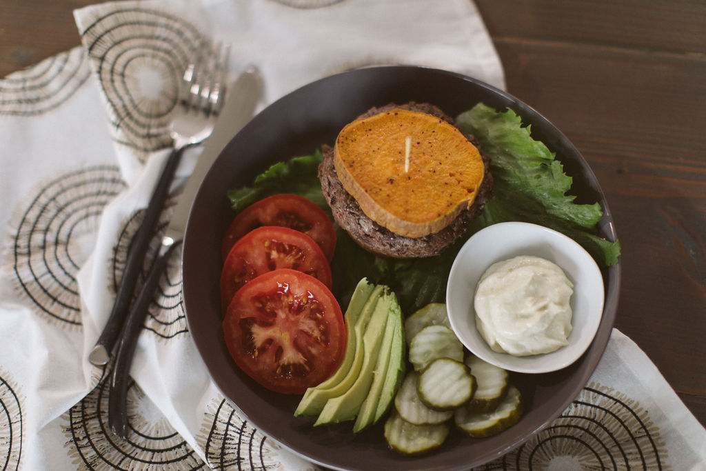 Whole30 Hatch Green Chile Burger Stacks with Sweet Potato Buns