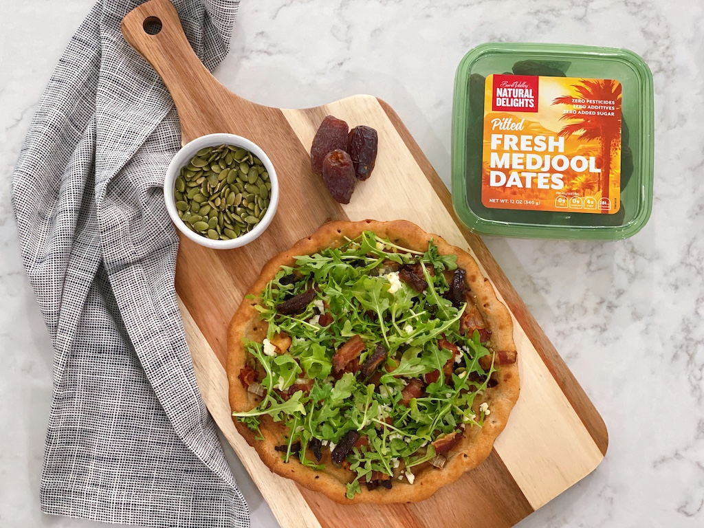 Bacon, Date, and Arugula Pizza with Natural Delights Medjool Dates