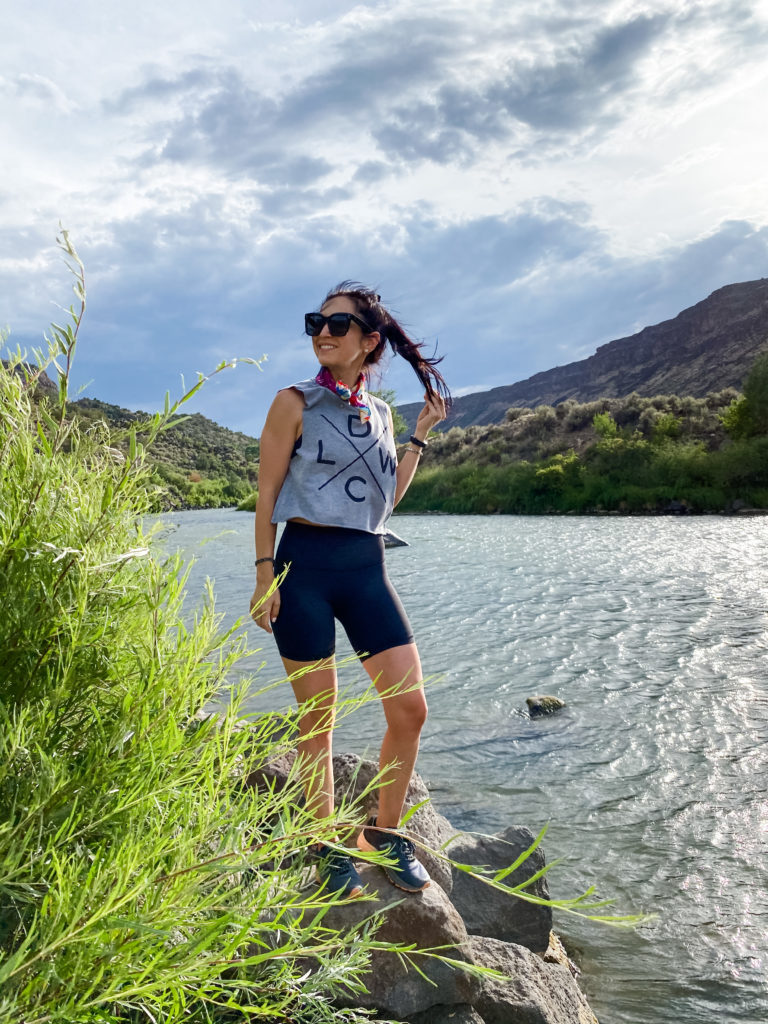 lululemon biker shorts hiking outfit in Taos