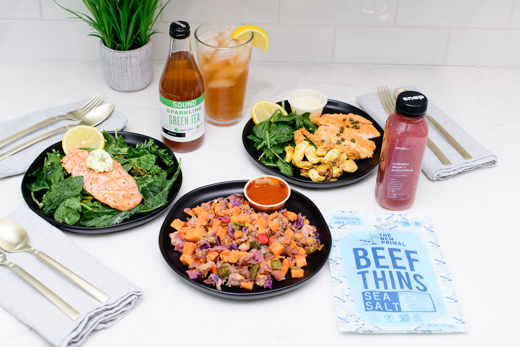 Whole30 approved menu at Snap Kitchen with The New Primal and Sound Sparkling Tea