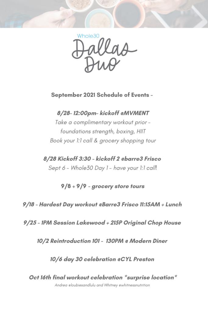 Dallas Duo Whole30 Schedule